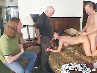 Hubby watched his gorgeously sexy wife handled two huge cocks